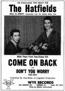"Ad for the release of a local hit by these Warwick brothers; Wayne and Ray now admit the ""Hatfields & McCoys"" angle was a publicity stunt!"