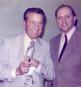 """Ray Peterson meets Lawrence Welk after the superstar bandleader/television personality recorded his own version of """"Night Theme"""" (mid-1960s)"""