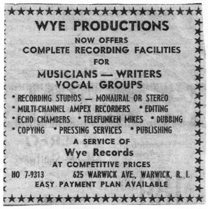 Offering the company's professional services to aspiring musicians outside the scope of the Wye talent roster enabled the company to move forward after their initial successes (newspaper ad, early 1960s)