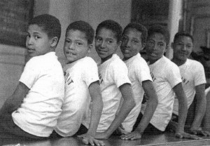 "The brothers in the 1950s (left to right): Feliciano ""Butch"", Perry Lee ""Tiny, Victor, Antone ""Chubby"", Arthur ""Pooch"" and Ralph Tavares"