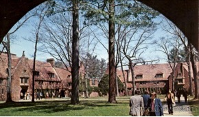 A postcard of the quadrangle of Avon Old Farms (circa 1975)