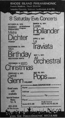 An advertisement in the Providence College student newspaper shows the high quality programming marking the orchestra's 25th anniversary season. Note the ticket prices for students on the mail-in coupon in the lower right corner, $8-$15 for a full season and $2.50-$4.75 for single concerts. Incidentally, the currentseason subscription for college students is still very reasonable at $25 for all concerts and open rehearsals!
