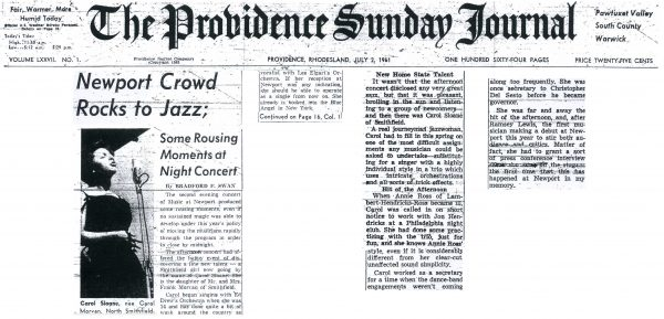 "Front page ""local girl makes good"" rave review of Carol's performance in 1961 at Music At Newport"