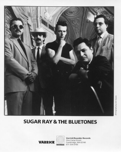 "Bluetones International! Rounder records 8x10 glossy publicity photo from the press pack which accompanied promotional copies of the band's first album ""Knockout!"" Left to right: Neil Gouvin, Mudcat Ward, Kid Bangham, Sugar Ray & Anthony Geraci."