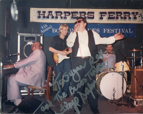 Sugar Ray performing with legendary blues pianist Floyd Dixon at the 4th Annual Boston Blues Festival held at Harper's Ferry, Allston, Massachusetts, 1990