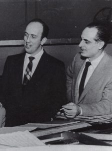 Carl Henry and band leader Ray Belaire, owner of The Arcadia Ballroom in downtown Providence, backstage preparing for a show. Carl was a fixture at the venue in the late 1940s and early '50s helping to put together bills, acting as MC and helping promote the ballroom during his radio broadcasts.